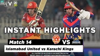 Islamabad United vs Karachi Kings | Full Match Instant Highlights | Match 14 | 1 March | HBL PSL 5