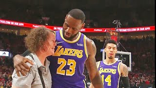 LeBron James Helps Woman Get Up After Knocking Her Over During The Game! Lakers vs Trail Blazers