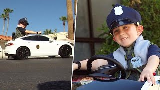 Boy Patrols Neighborhood After 'Bandits' Steal Toy Tesla