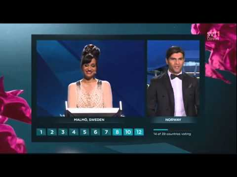 Petra Mede reacts to the Eurovision 2013 voting