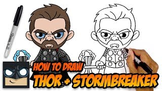 How to Draw Thor + Stormbreaker | The Avengers Endgame