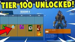 FULL BATTLE PASS UNLOCKED! Season 6 ALL ITEMS + SKINS GAMEPLAY (Fortnite Battle Royale)
