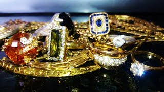 Metal detecting Found a bag of jewelry in a lake, a Cache ! & 2 CARAT DIAMOND & Gold !  Garrett AT G