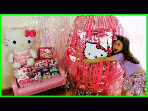 HELLO KITTY GIANT SURPRISE EGG Opening Hello Kitty Toys Hello Kitty Puzzle Kids Toy KiddieToysReview