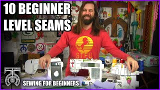 10 Beginner Level Sewing Seams! How to use a sewing machine tutorial - Brother ST150HDH