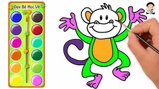 Vẽ Con Khỉ Cực Dễ - Tô Màu Con Khỉ - Dạy Bé Vẽ Và Tô Màu Con Khỉ