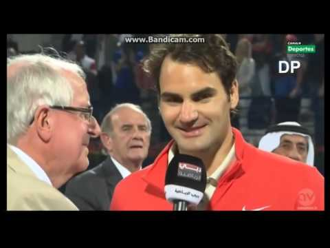 Roger Federer after winning Dubai 2014