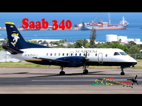 Seaborne Airlines Saab 340 in action @ St. Kitts (HD 1080p)