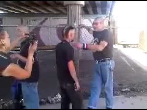 CRAZY FIGHT STREET FIGHTS     METH HEAD vs SKIN HEAD  kimbo vs high school bully Image 1
