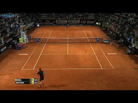 Rafael Nadal Beats Dimitrov With Net Hot Shot In Rome 2014