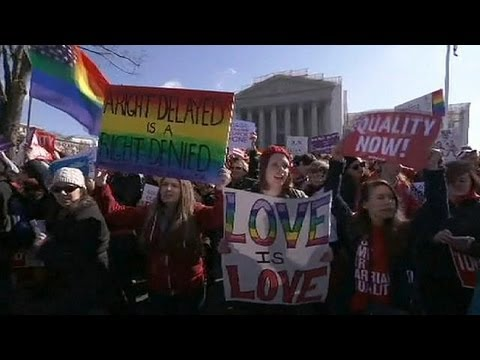 Wedding March marks day one of USA gay marriage hearing