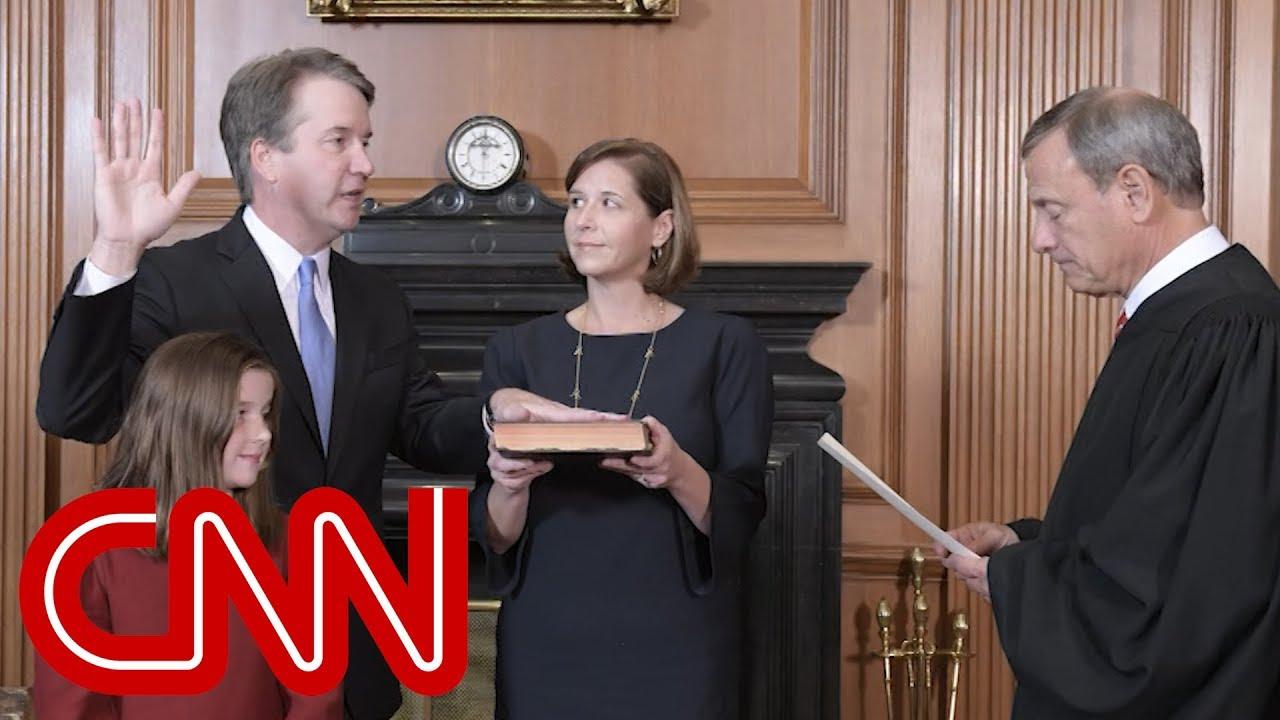 See the moment Brett Kavanaugh is sworn in