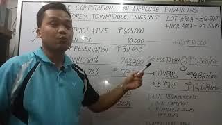 Sample computation thru In House Financing