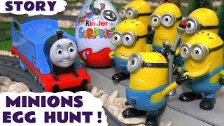 Minions Funny Kinder Surprise Egg Hunt with Thomas The Tank Engine Kids Fun Animation ToyTrains4u