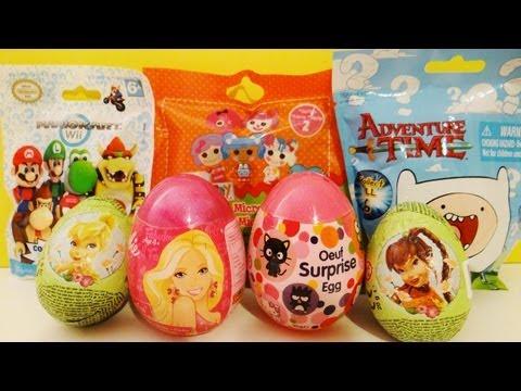 7 Surprise Eggs Blind Bags Opening Mario Kart, Barbie, Lalaloopsy, Adventure Time, Disney Fairies