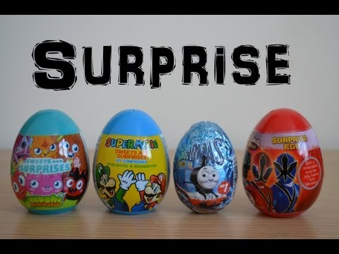 Thomas The Tank Moshi Monsters Power Rangers SuperMario Surprise eggs (HD)