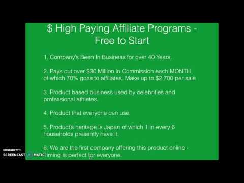 High Paying Affiliate Programs - Free To Start