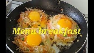kentang goreng telur ceplok menu breakfast
