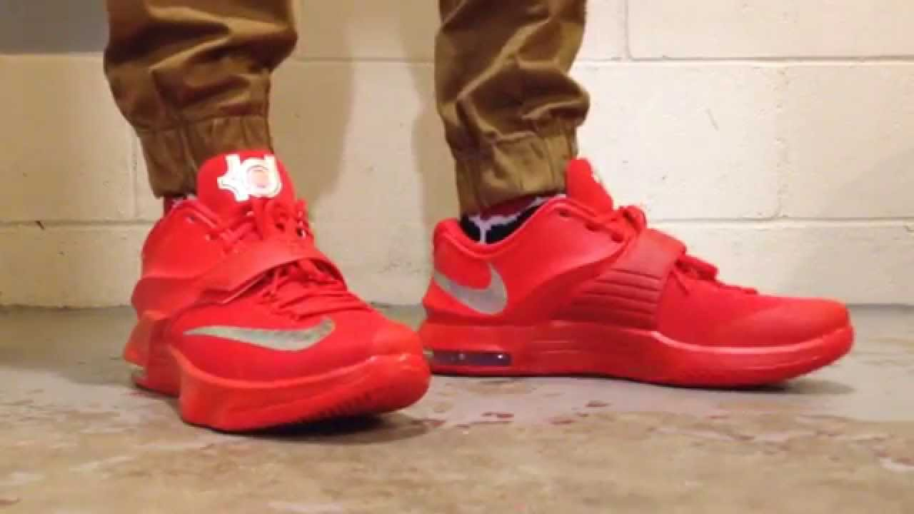 Displaying 18 gt  Images For - All Red Kd 7 On Feet   Kd 7 On Foot