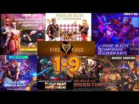 ВСЕ ЭЛИТНЫЕ ПРОПУСКЕ 1-9 В ОДНОМ ВИДЕО!!! ELIT PASS 1-9 FREEFIRE!