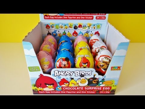 12 Surprise Eggs Unboxing Angry Birds, Mickey Mouse, Cars 2, Disney Princess.