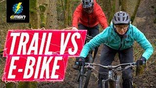 Trail Vs E-Bike Descending Challenge   Battle Of The Bikes