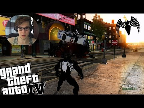 GTA 4 Venom Mod with Spiderman Powers - Venom Attacks Liberty City Police