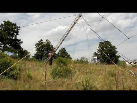 Raising the 20 meter mono-bander at our Golden Gate Canyon Field Day site in Colorado