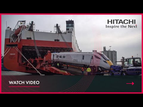 Hitachi Class 800 train arrives in Southampton port