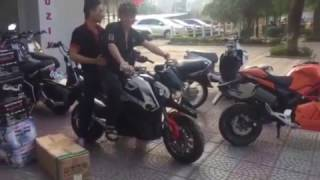 Thử xe môtô điện SONIA MV M7 E-MOTOR chắt hơn HONDA MSX ☎O1633672888 LUXURY EBIKES 46 NGUYỄN VĂN CỪ