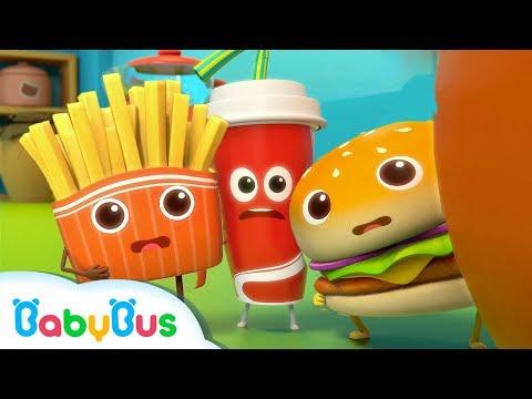 용감한 햄버거와 친구들 음식동요 햄버거송 피자송 어린이노래 베이비버스 인기동요 BabyBus