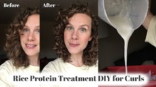 How I make my rice water protein hair treatment | Curly Girl Method DIY