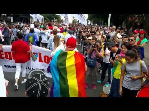Gay Lesbian Transgender pride march 2016 equal love contingent