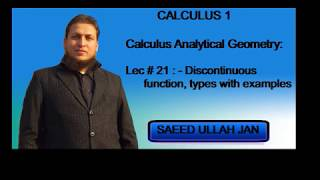 Calculus 1 Lec#21 Discontinuous function, types with examples (Udru/ Hindi) by Saeed Ullah Jan