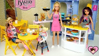 Barbie Work Day Morning Routine  - Baking Snack Shop Toy Set