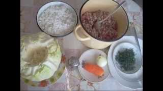 Готовим голубцы с фаршем и рисом. Нежные и сочные.Cooking stuffed cabbagerolls with  meat and rice.