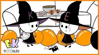 """Emma & Kate """"Halloween Costume Party with Candy Pinata"""" - EK Doodles Funny Cartoon Animation"""