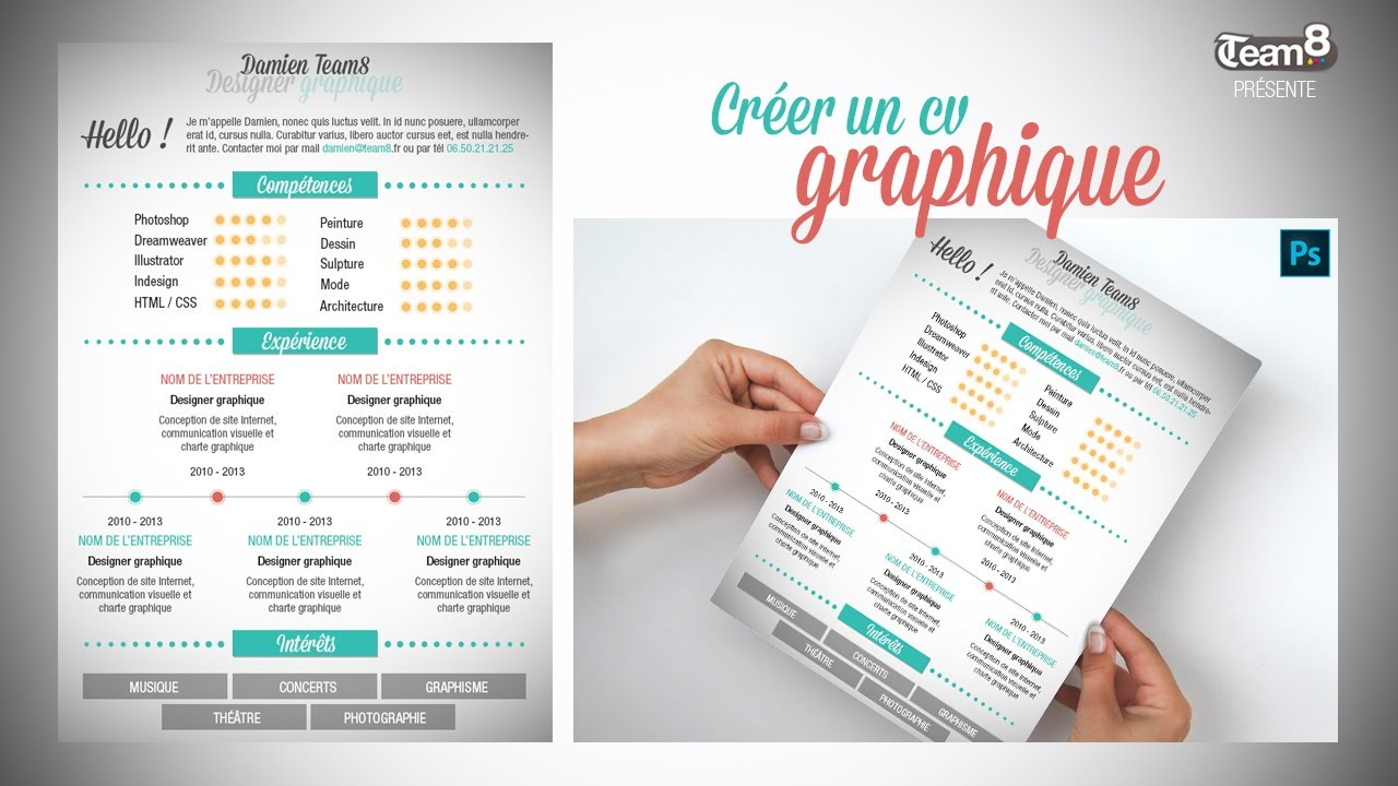 tutoriel photohop - tuto cr u00e9er un cv graphique    design avec photoshop cs6