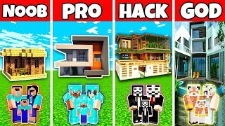 Minecraft: FAMILY LUXURY MODERN HOUSE BUILD CHALLENGE - NOOB vs PRO vs HACKER vs GOD in Minecraft