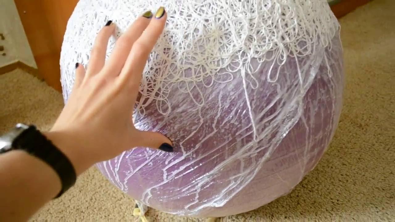 Как сделать люстру из ниток шарика и клея