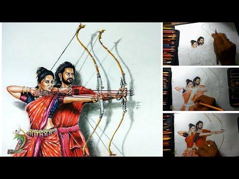 Bahubali 2 | Hyper Realistic Drawing Of Bahubali and Devasena (Time Lapse) - 3D Art 4 You