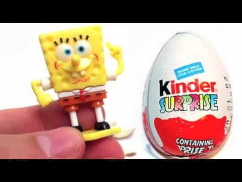 Surprise eggs Spongebob Kinder Surprise Chocolate Eggs Unboxing gift toy