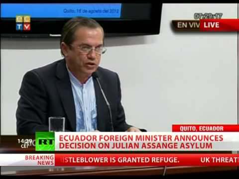 Ecuador grants asylum to Assange - FULL SPEECH by FM Ricardo Patino