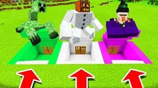 Minecraft PE : DO NOT CHOOSE THE WRONG SECRET BASE! (Mutant Creeper, Mutant Snow Golem & Witch)