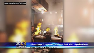 Flaming Cheese Triggers Sprinklers At Baltimore Restaurant