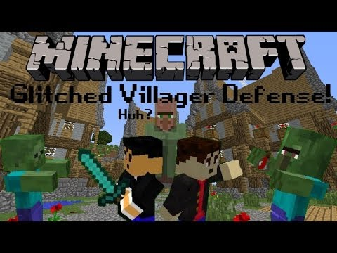 Minecraft: Glitched Villager Defense! - Kill the Zombies!