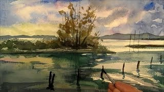 Lake, Painting Landscape in watercolour, Time Lapse