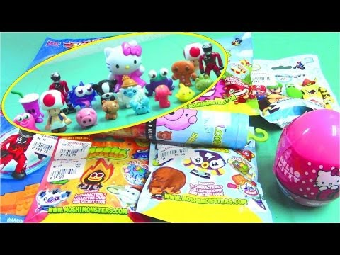Hello Kitty Surprise Eggs. Mario Kart Wii. Squishy. Moshi Monsters Surprise Bags