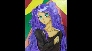 anime girl-canvas painitng