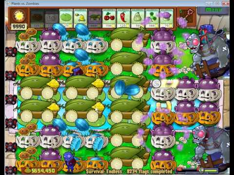 Plants vs Zombies Survival Endless 8000 plus flags - by Hardinero